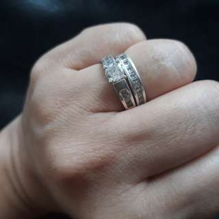2 pcs Silver rings with zirconia