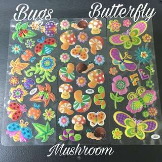 Glitter puffy fabric stickers
