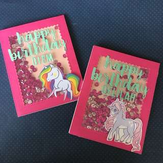 Unicorn birthday shaker card