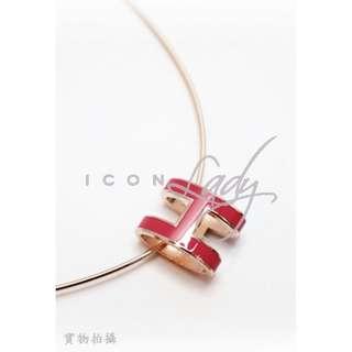 HERMES Pop H 深粉紅色( Framboise)搪瓷玫瑰金色邊 橢圓形立體H扣 頸鏈
