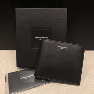 Saint Laurent YSL黑色牛皮短銀包