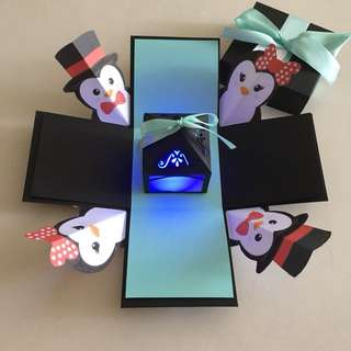 Penguin diy Explosion box with lighthouse in black & Tiffany