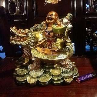 Laughing Buddha On Turtle Dragon With Lots Of Gold For Feng Shui