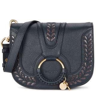 SEE BY CHLOÉ Hana navy leather shoulder bag