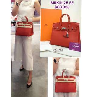 全新 HERMES Birkin 25 5E Vermillon 紅色 銀扣 手提袋 手挽袋 肩背袋 手袋 Leather Handbag in Red