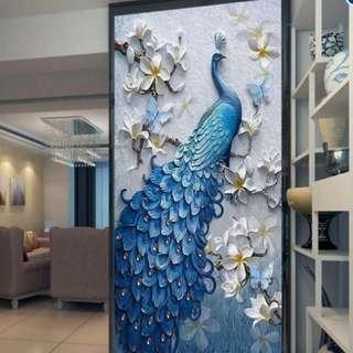 D Embossed Peacock Bird Flower Hallway Photo Wallpaper Murals Bedroom Entrance Photo Wall Mural Wall Paper 3d Painting Peafowl