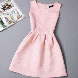 Sleeveless Light Pink Vintage Dress