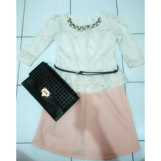 Dress brukat peach