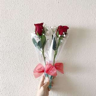 Roses Bouquet , Single Flower Clear Plastic Wrapping