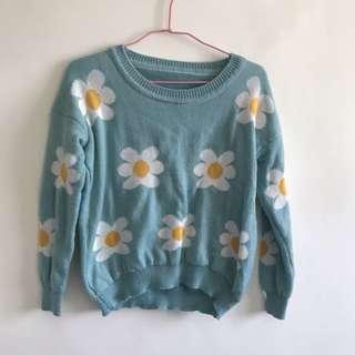🚚 藍綠色小花毛衣