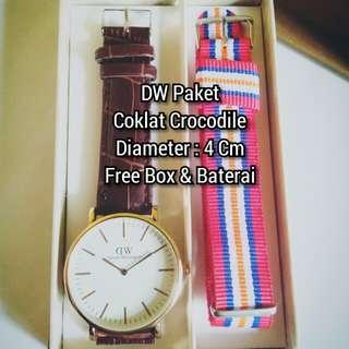 Jam DW Paket Kulit Coklat Crocodile