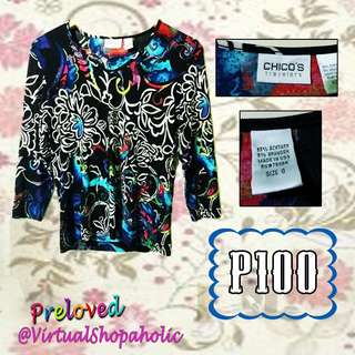 PLUS SIZE LONG SLEEVES FLORAL BLOUSE (BLACK) PRELOVED