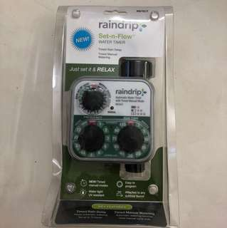Raindrip Brand, automatic watering timer, for your plants; powered by battery; set-n-flow; timed rain delay; timed manual watering; attached to any outdoor or indoor faucet; water tight & UV resistant