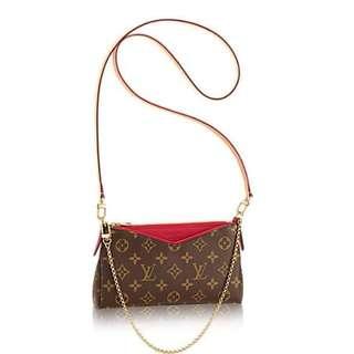 典精品名店 LV 全新 真品 原花 紅色 M41638 PALLAS 拉鍊 斜背包 手提包 肩背包 手拿包 腋下包