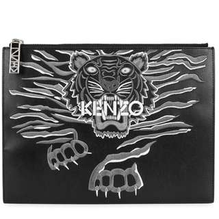 KENZO Tiger-embroidered leather pouch