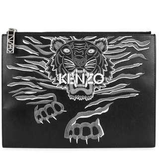 *2月only* KENZO Tiger-embroidered leather pouch