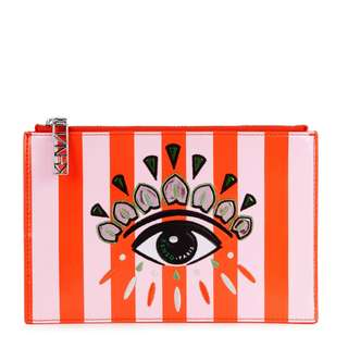 *2月only* KENZO Striped eye-appliquéd pouch