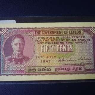British celyon KGVI 50cents notes unc