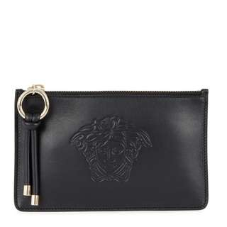 VERSACE Black Medusa leather pouch