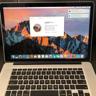MacBook Pro 15 Inch Retina Core i7 late 2013