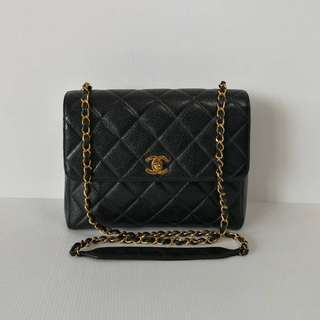 Chanel Black Caviar 24k Gold Hardware Camera Crossbody Bag