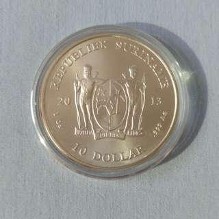 [Rare] 2013 Suriname 1 troy oz .999 Silver Coin