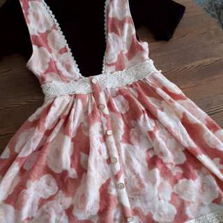 Pink Red White Floral Jumper Skirt
