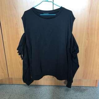 🚚 出清 全新 黑色 露肩長袖造型T恤