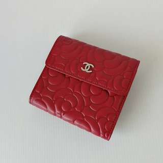 Chanel Red Camellia Compact Wallet