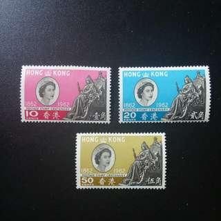 [lapyip1230] 香港 1962年 郵票百周年紀念 原膠新票有背貼 Mint