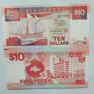 Singapore red $10 UCN paper Note