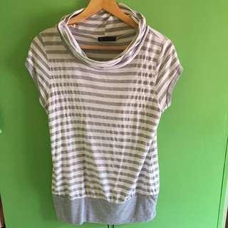 Closed neck gray &a white stripes