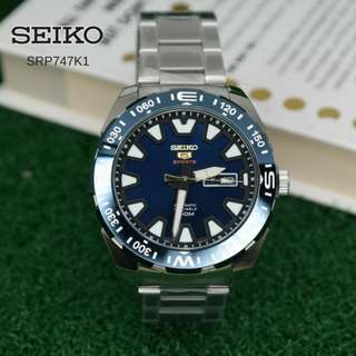 AUTOMATIC MENS BLUE DIAL STAINLESS STEEL WATCH SEIKO SRP747K1
