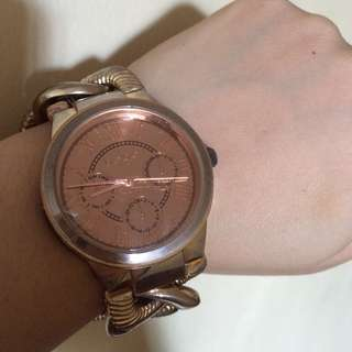 (Orig) Bebe RoseGold Watch with Bracelet style Snap Lock