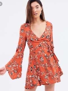 Mink pink rust roses wrap dress - new without tags