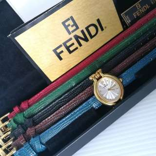 Fendi Gold Watch with 5 Exchangeable Leather Strap