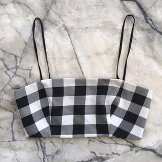 Black and white gingham bandeau