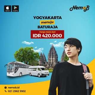 Promo tiket bus murah rute Baturaja - Jogja dan sebaliknya. Hubungi NEMOB
