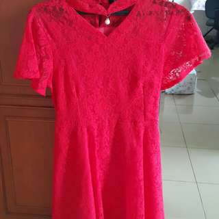 Dress Imlek brokat merah
