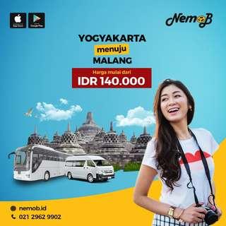 Promo tiket shuttle dan bus murah rute Jogja - Malang dan sebaliknya. Hubungi NEMOB