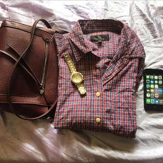 Shirt | Semi Tartan | Oversized  | Warna Dark Pink