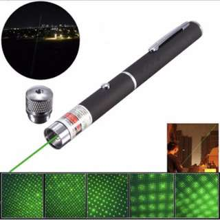 2 In 1 1000m Green Laser Pointer Pen Focusing Light 532nm 5mw Powerful Beam Kaleidoscopic Line with Star Cap Lamp Head Laser Pen