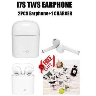 (送精美蘋果有線彩色耳機) I7S TWS 雙耳真無線藍芽耳機連充電盒 Wireless Bluetooth headphone V4.2 portable Mini headset hbq charger box