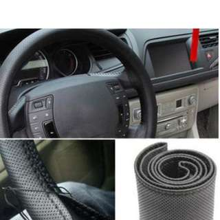 PREORDER FREE POSTAGE New Leather DIY Car Steering Wheel Cover With Needles and Thread 3 Color Choose 8OUW