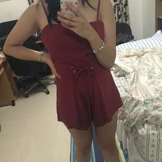 Red/wine playsuit