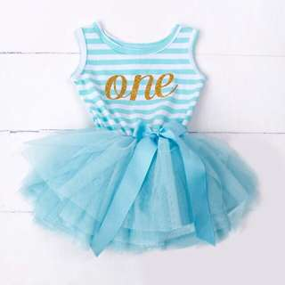🐰Instock - 1st blue birthday dress, baby infant toddler girl children glad cute 123456789
