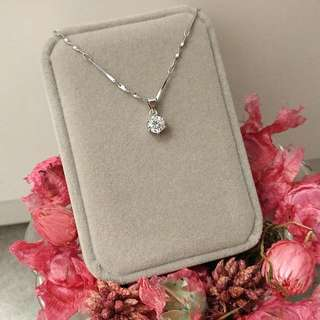 簡約經典1卡閃亮圓型吊墜頸鏈 Simple Classic 1carat  Flashing Round Pendant Necklace 情人節禮物 Valentine's Day Gift❤🎁