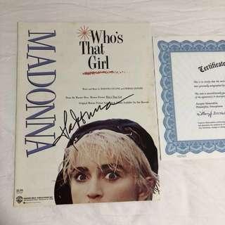 Madonna Signed Music Sheet (COA)