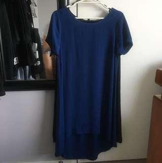Black & navy blue chiffon fabric knee high dresses