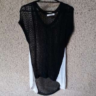 Knitted black and white top / swimsuit cover up